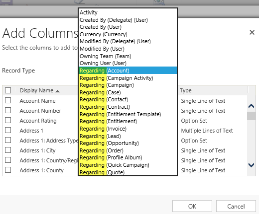 Add Columns with Regarding entity to MS Dynamics CRM for chart customization.