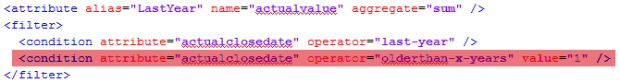 """<attribute alias=""""LastYear"""" name=""""actualvalue"""" aggregate=""""sum"""" />               <filter>                 <condition attribute=""""actualclosedate"""" operator=""""last-year"""" />                 <!-- <condition attribute=""""actualclosedate"""" operator=""""olderthan-x-years"""" value=""""1"""" /> -->               </filter>"""