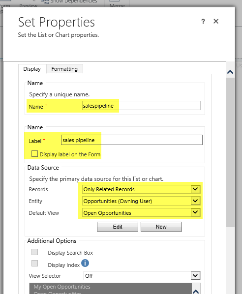 Subgrid and chart settings to display chart on form in MS Dynamics CRM