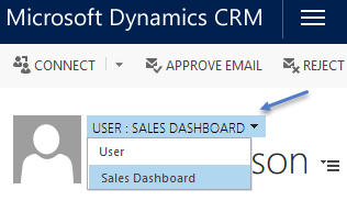 Switch form on user to display sales dashboard