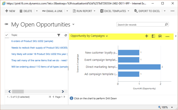 Chart Editor opened from Dashboard in MS Dynamics CRM for better chart editing