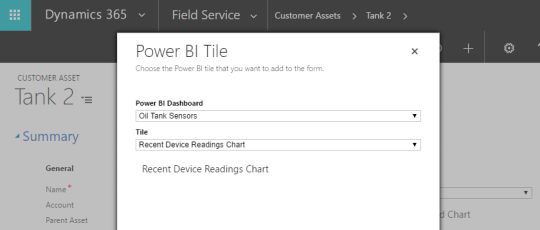 Selector for Power BI tile in Dynamics 365 form