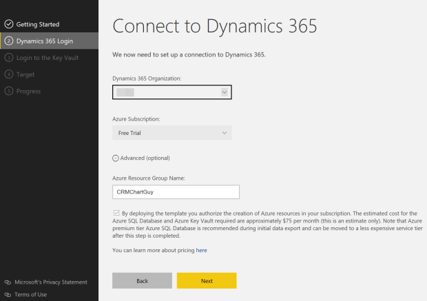 2 Dynamics 365 login choose org and resgroup name CRMchartguy.png
