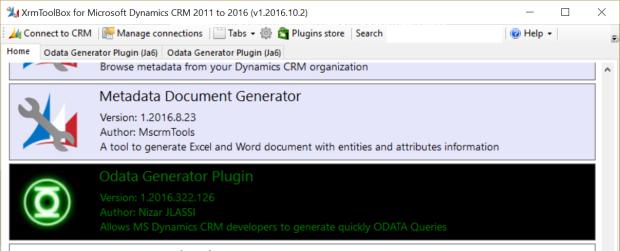 odata-generator-in-xrmtoolbox