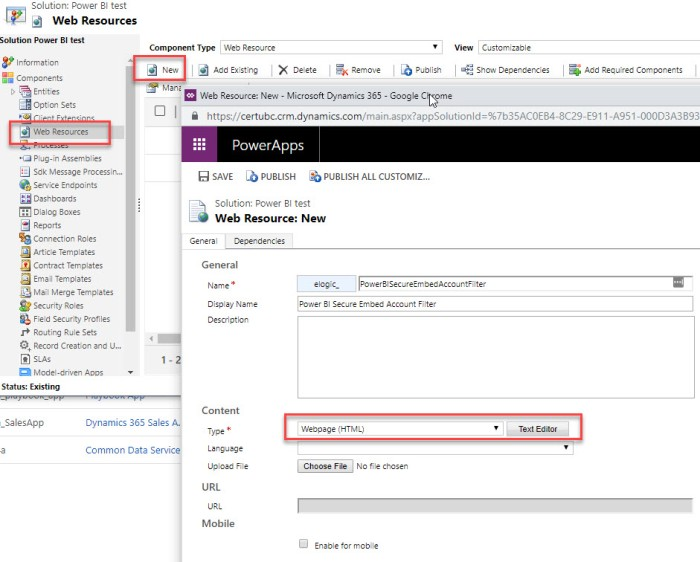 add web resource to Dynamics 365 for adding Power BI report