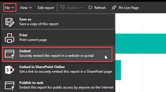 secure embed in Power BI button
