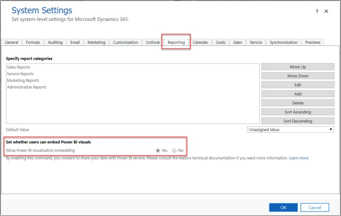 Embed Power BI System Settings