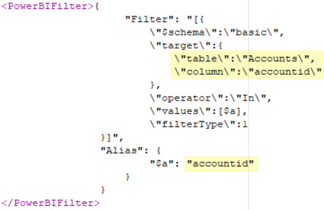 Power BI Filter formxml