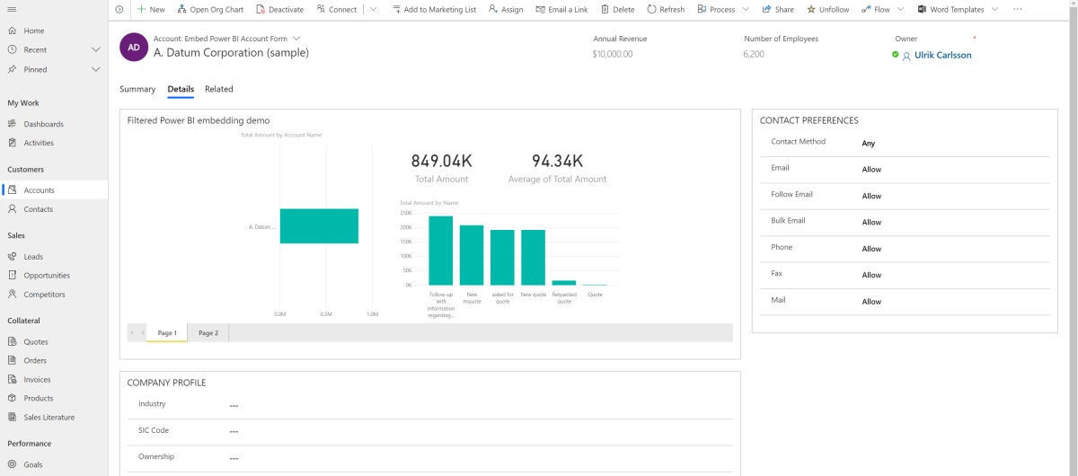 Embed filtered Power BI reports on Dynamics 365 forms