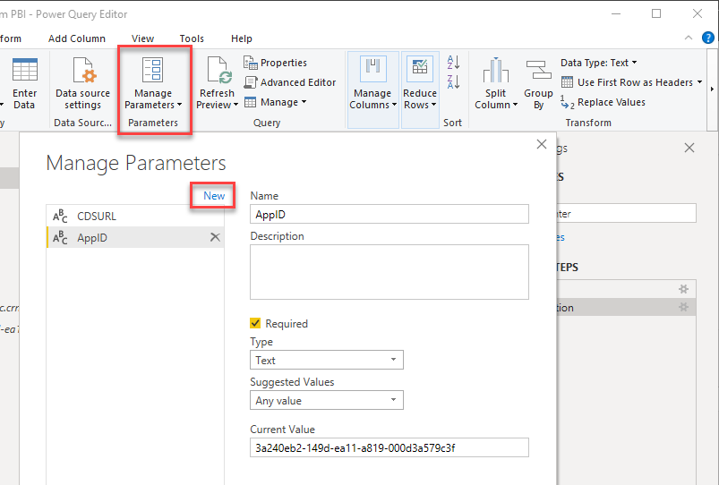 Create parameters in Power Query