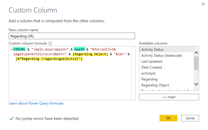 Create URL to Dynamics 365 record in Power Query