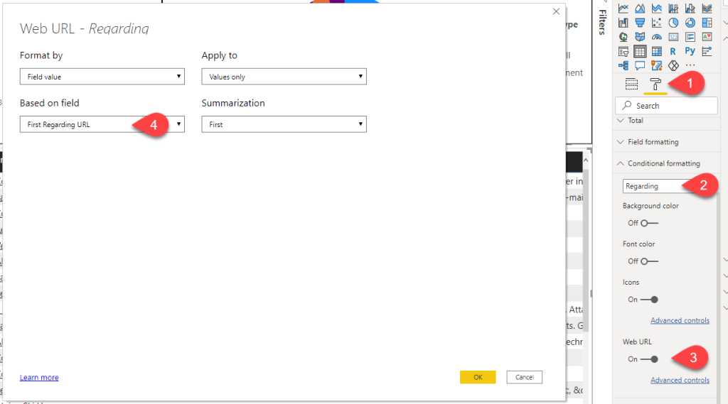Set text as link rather than icon in Power BI conditional formatting